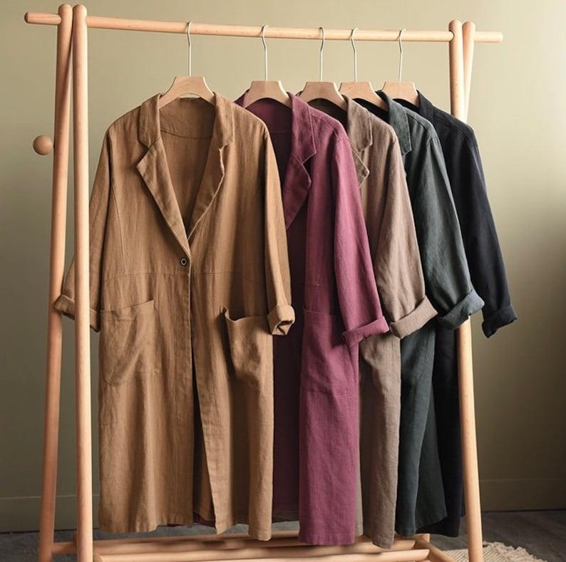 Vintage Coats & Jackets | Retro Coats and Jackets 100% Linen Coat Burgundy Long Linen Duster Washed Linen Cardigan Linen Kimono Long Sleeves Jacket Washed Soft Linen Top Oversized Coat $89.00 AT vintagedancer.com