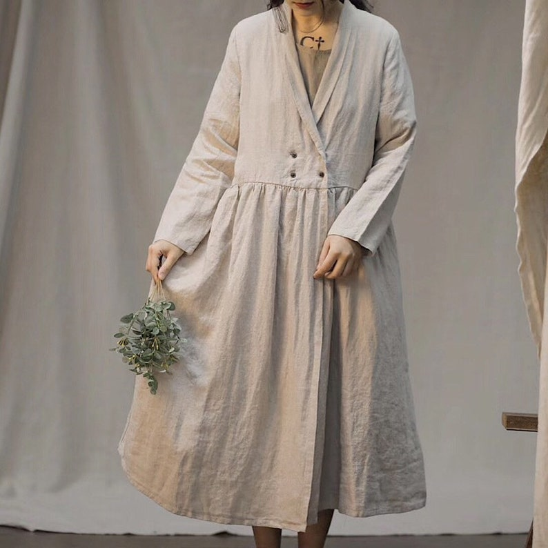 Cottagecore Clothing, Soft Aesthetic Natural Linen Coat Cardigan Long Sleeves Robes Loose Maxi Dresses Coat Oversized Windbreaker Autumn coat with Pockets Plus Size Duster $72.00 AT vintagedancer.com