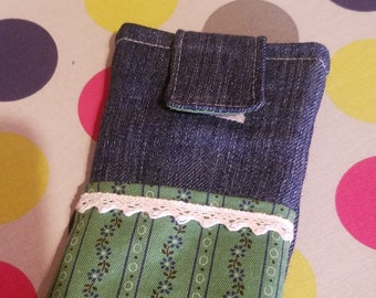 Mobile phone case jeans with outer pocket, handmade