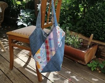 Bag, patchwork, shopper, shoulder bag, windmill bag, unique, handmade, with zippered inner pocket