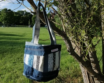 Bag Shoulder Bag Jeans-Upcycling Patchwork Unique