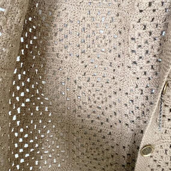 Vintage Crochet Tan Sweater Vest - image 5