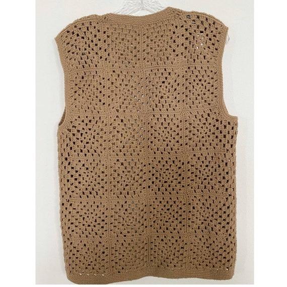 Vintage Crochet Tan Sweater Vest - image 7