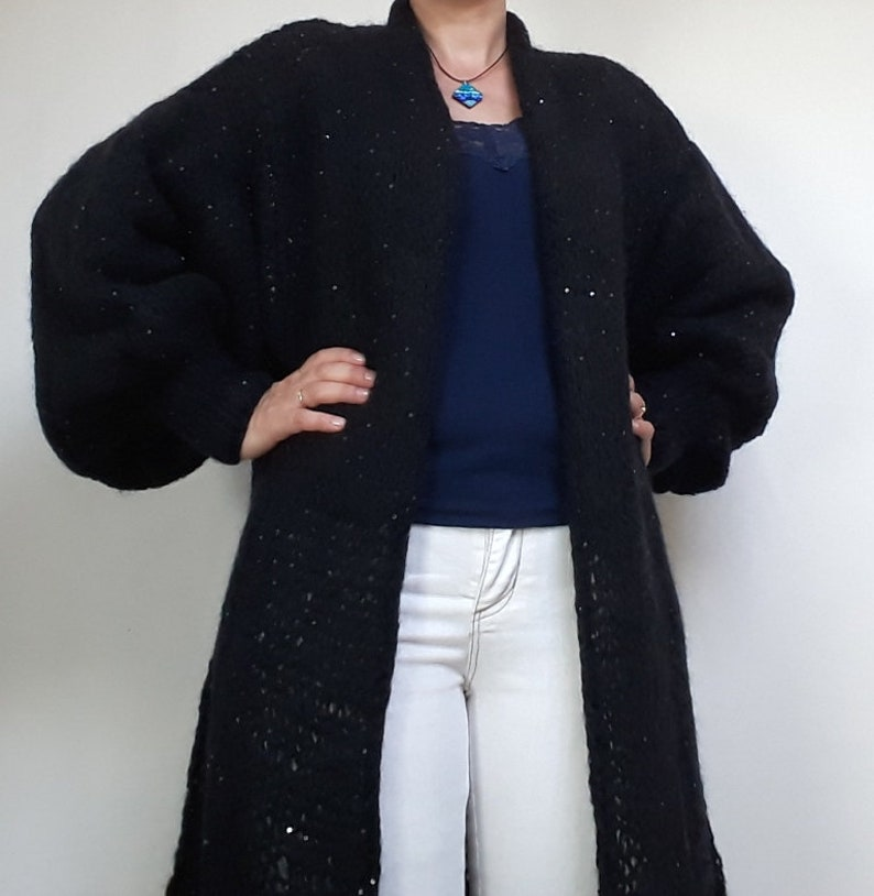 Long loose woman cardigan wool sequins cardigan chunky knittingone size mohair dress