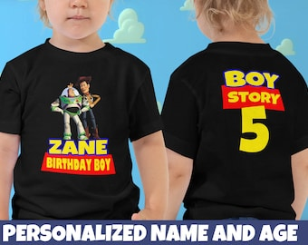 e81e6724 Personalized Name and Age Birthday Party Story Toddler Tee Shirt 2T 3T 4T  5T 6T Age 1 2 3 4 5 6 7 Custom Woody Toy Birthday Boy T-Shirt