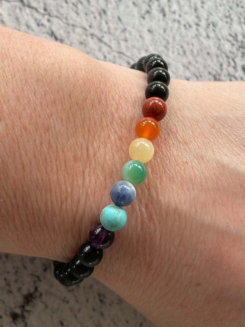 Chakra /& Obsidian stretch braceletprotection and balance