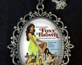 Foxy Brown Large Antique Silver Pendant Necklace Earrings USA Blaxploitation Movie Poster Pam Grier 1974