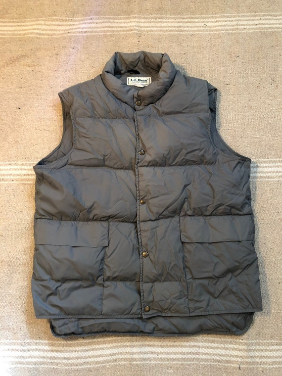 70s 80s LL Bean Grey Down Puffer Vest Large