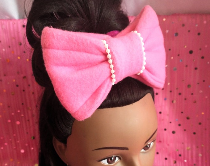 Large Pink Hair Bow Scrunchie Barrette Hair Accessories