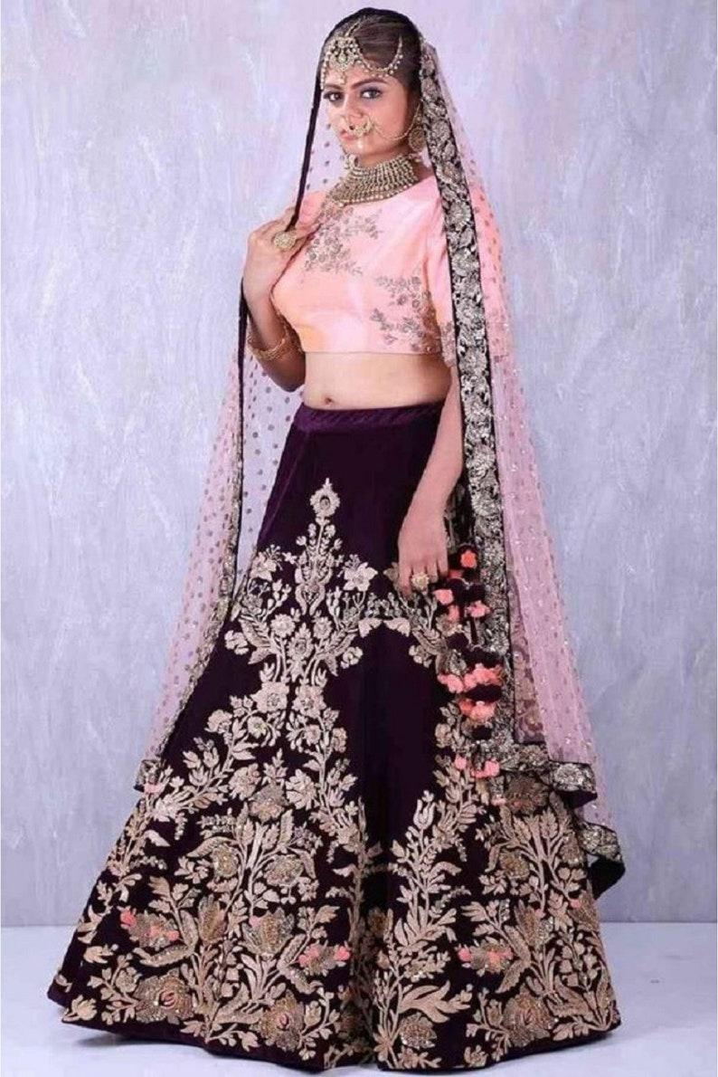 Magenta color designer girlish bridesmaids lehenga Indian lehenga for recaption custom lehenga choli