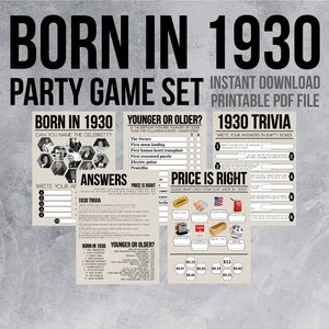 90th Birthday Party Games Born in 1929 1930s 1930s Birthday Price is Right Name the Celebrity 30s Trivia Printable Party Trivia Games