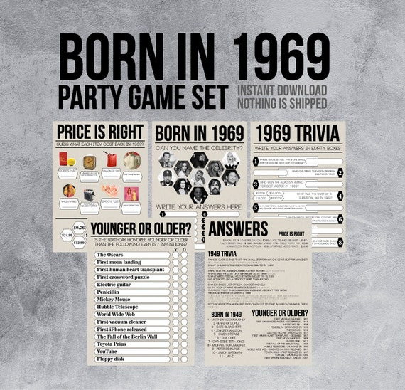 50th Birthday Party Games.Born In 1969 50th Birthday Party Games 1970s Trivia Price Is Right Name The Celebrity Younger Or Older 70s Printable Party Games