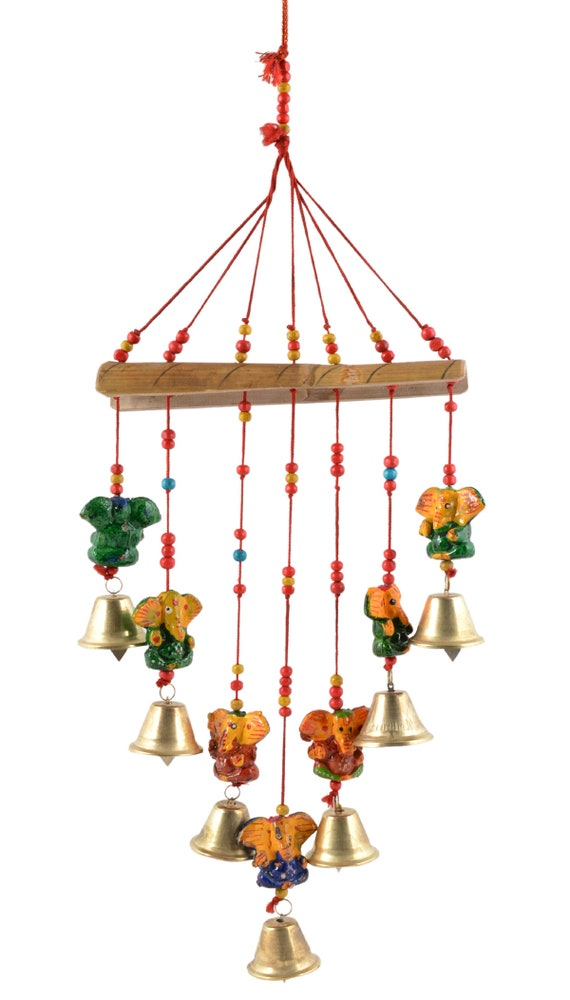 WIND CHIMES BELLS AND COINS FENG SHUI WINDCHIME WOODEN BLOCK