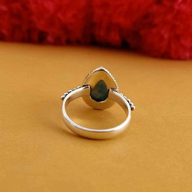 sterling silver 925 birthday gift item jewelry handmade ring rings free shipping item Indian jewelry Natural Larimar boho ring