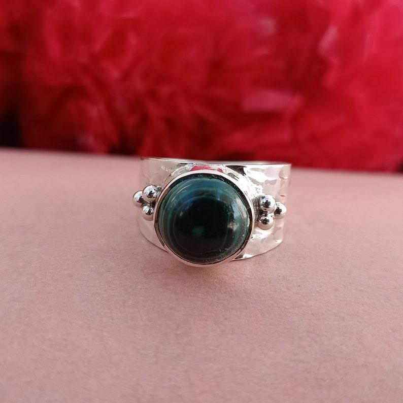 Birthstone rings Statement ring green stone ring gift item Malachite stone ring sterling silver 925 round shape rings Handmade ring