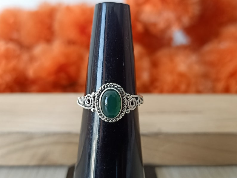 Boho ring Jewelry Green stone ring silver ring Handmade silver Bohemian Ring Green onyx Silver ring 925 sterling silver ring