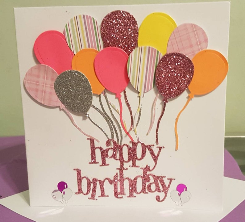 Handmade 3D Birthday personalised card any age any colour