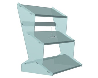 Acrylic Stand Type 21 530mm x 230mm shelves 3 tier for Larger Modules and Synths