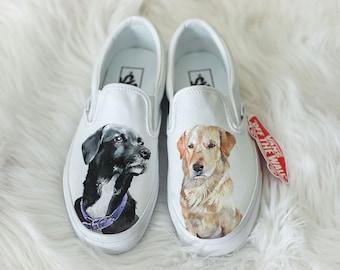 Handpainted Custom Pet Portrait Vans (two pets)