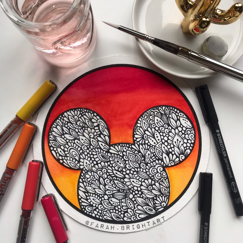 Zentangle Mickymouse original drawing  hand drawing  Disney image 0