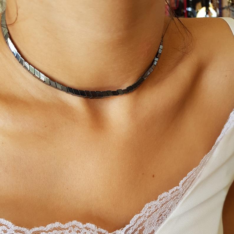 Hematite necklace and bracelet set Hematite necklace Genuine hematite beaded necklace Gun metal hematite Choker necklace Adjustable necklace