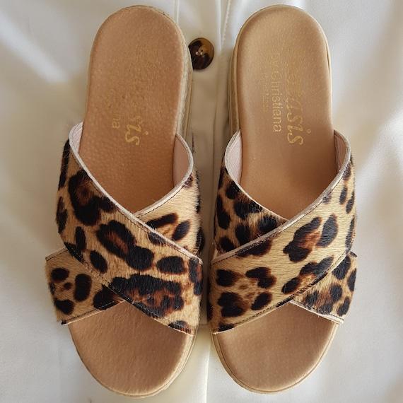 Leopard criss cross sandals leather