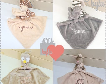 Personalised Baby Comforter, Neutral Colour Teddy Comfort blankie/soother - Zebra, Rabbit, Giraffe or penguin. Perfect newborn baby gift