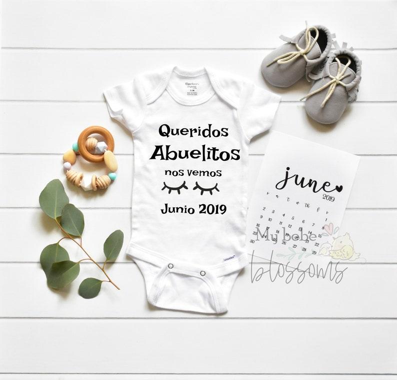 Spanish Pregnancy Announcement Bodysuit for New Grandparents Onesie only