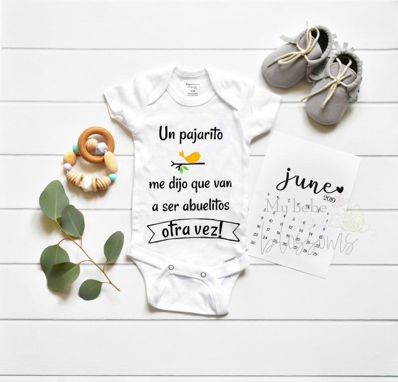 Spanish Pregnancy Announcement Bodysuit for New Grandparents image 0