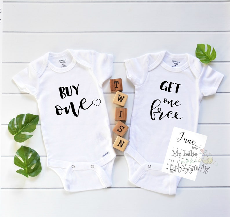 Buy One Get One Free Twin Pregnancy Announcement Bodysuits image 0
