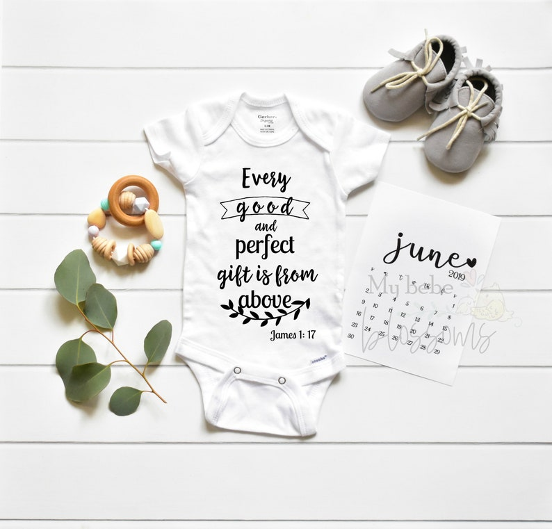 Religious Pregnancy Announcement Bodysuit for Christian Baby image 0
