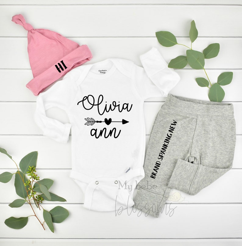 Personalized Newborn Girl Coming Home Outfit and Hospital image 0