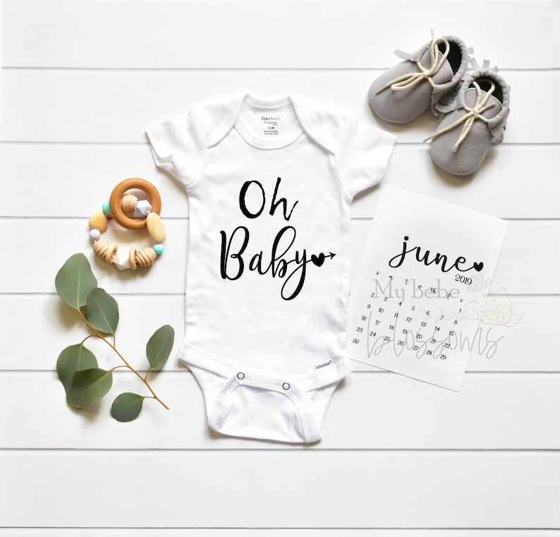 Oh Baby Pregnancy Announcement Bodysuit  Baby Shower Gift image 0