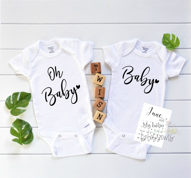 Oh Baby Twin Pregnancy Announcement Bodysuits image 0
