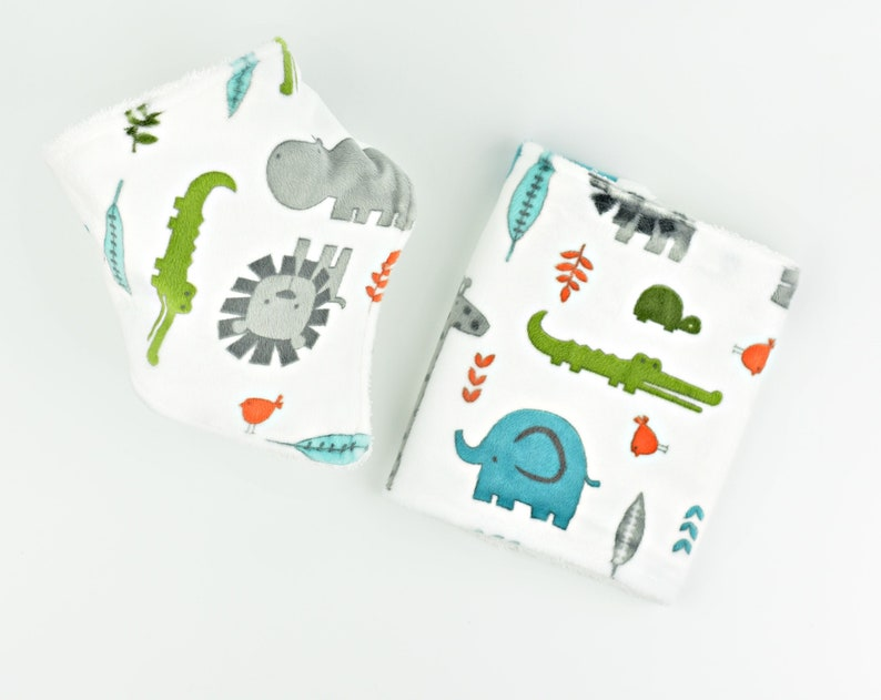 Baby Boy Gift Personalized Baby burp cloth and bib image 0