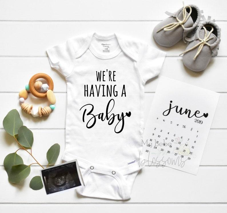 Pregnancy Announcement Bodysuit  Baby Shower Gift image 0