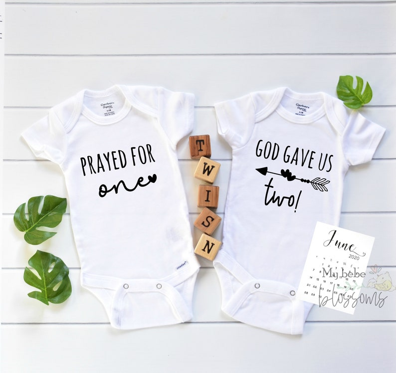 Religious Twin Onesies Pregnancy Announcement for Christian image 0