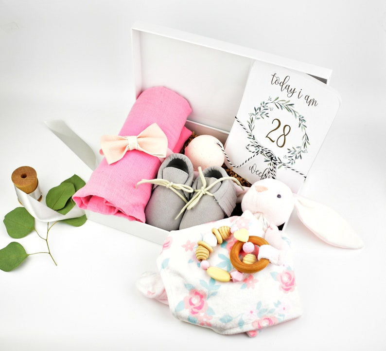Baby Girl Shower Gift Basket  Trimester Bump Box image 0