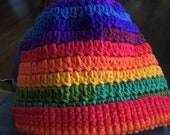 Rainbow Messy Bun Hat