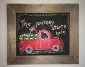 Vintage Red Truck/Framed/Farmhouse Sign/Mantle Decor/Entryway Decor/Farmhouse Decor