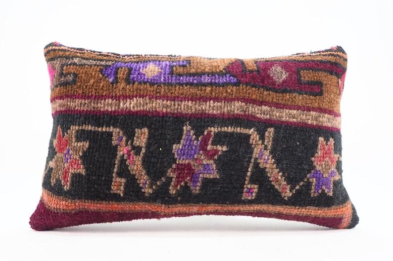 old pillow ID- 658 Carpet Pillow Carpet Rug Pillow 12x20 turkish rug pillow,handmade pillow,boho pillow,vintage pillow wool pillow