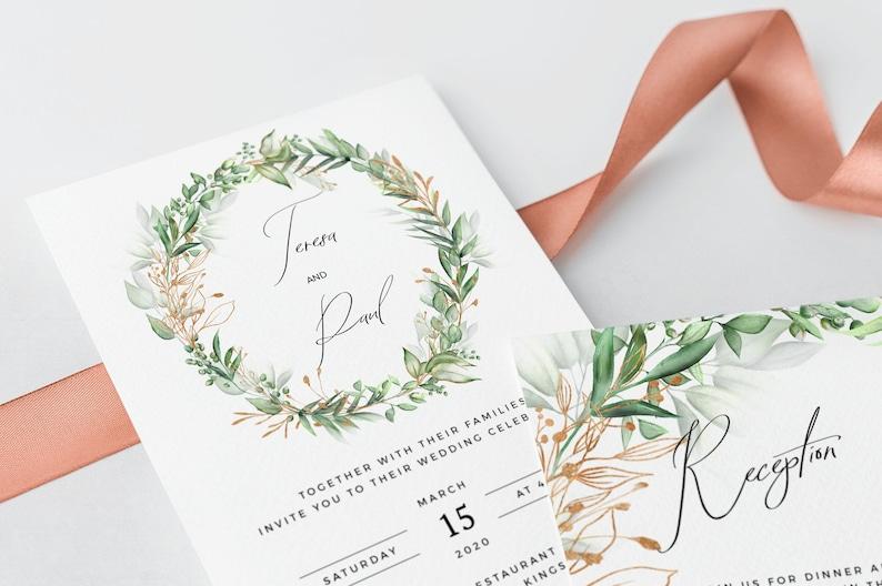 Wedding Invitation Template Editable Boho Wedding Invite Greenery Invitation Invitation Download Green and Gold Printable