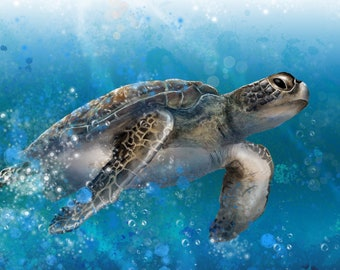 Sea Turtle - Digital Painting produced as a Professional Quality Artist Signed Print - 20x16 inch
