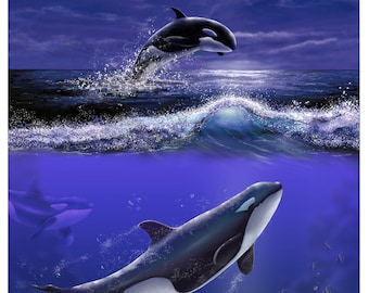 Ocean of Hope - Digital Painting of  Killer Whales produced as a Professional Quality Artist Signed Print - 20x16 inch