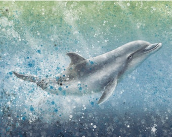 Dolphin Delight - Watercolour produced as a Professional Quality Artist Signed Print - 20x16 inch