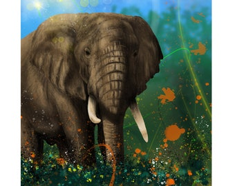 African Giant - Digital Painting of an African Elephant produced as a Professional Quality Artist Signed Print - 20x16 inch