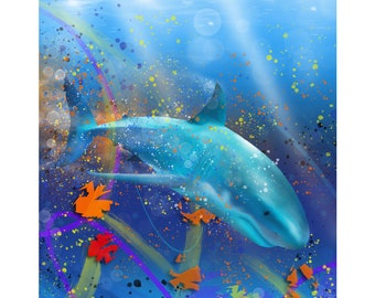 Cosmic Hunter - Digital Painting of a Shark produced as a Professional Quality Artist Signed Print - 20x16 inch