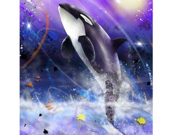 Ocean Dreams - Digital Painting of a Killer Whale produced as a Professional Quality Artist Signed Print - 20x16 inch