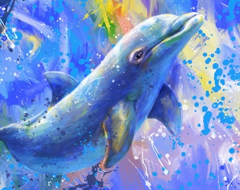 Tropical Dreams - Digital Painting of a Bottle Dolphin produced as a Professional Quality Artist Signed Print - 20x16 inch