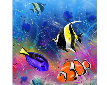 Coral Rainbow - Digital Painting of Tropical Marine Fish produced as a Professional Quality Artist Signed Print - 20x16 inch